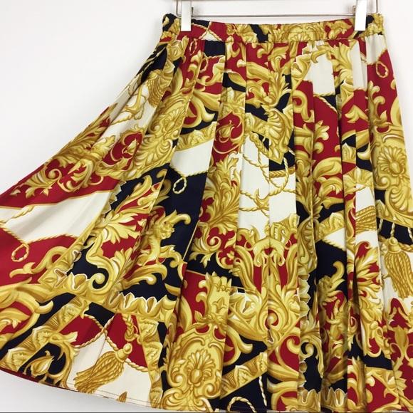 Vintage Italian baroque silk blend pleated skirt